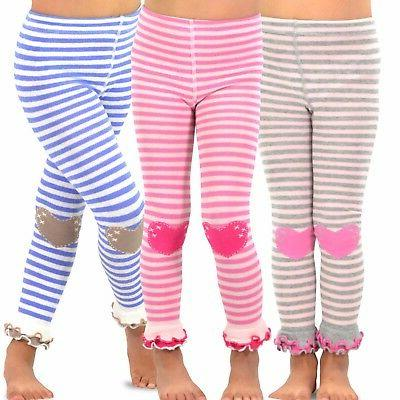 TeeHee Kids Girls Footless Tights Ruffle Bottom 3 Pair Pack