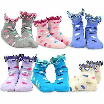 TeeHee Kids Girls Fun Soft Double Ruffle Crew Socks 6 Pair P