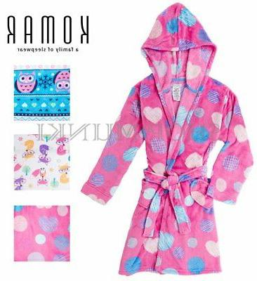 Komar Kids Girls Hooded Plush Velvet Fleece Wrap Bath Robe-F
