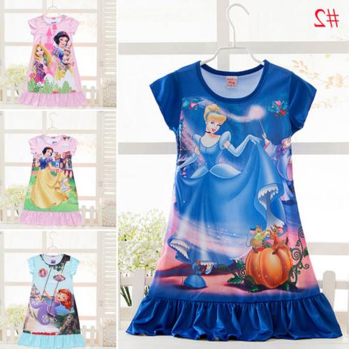 Girls Cartoon Dress Pyjamas Nightwear Sleepwear 2-13Yrs