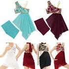 Girls Kids Modern Lyrical Dance Dress Costume Floral Sequins