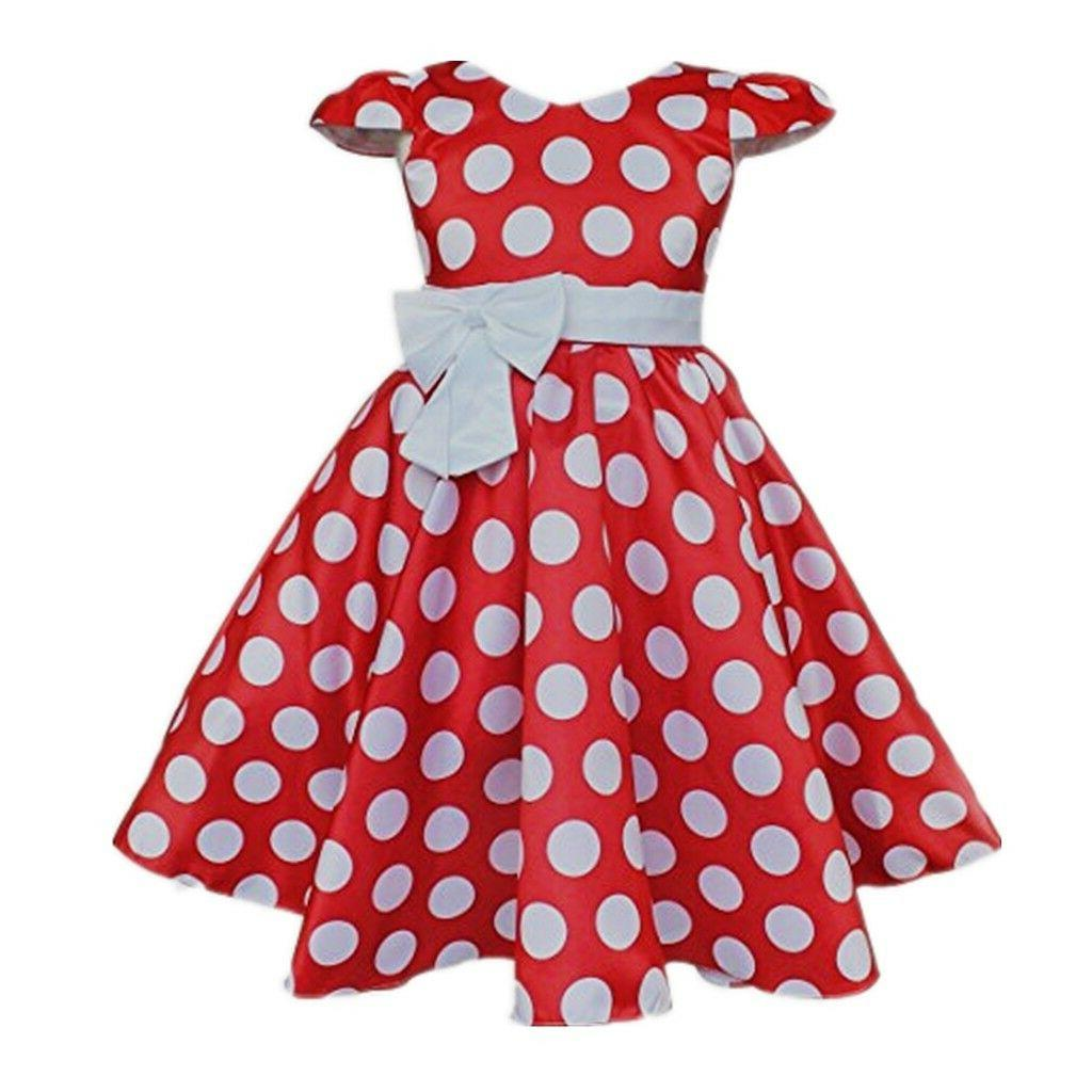 DH Toddlers Sleeves Skirt Polka Dot Dress With 2-10Y