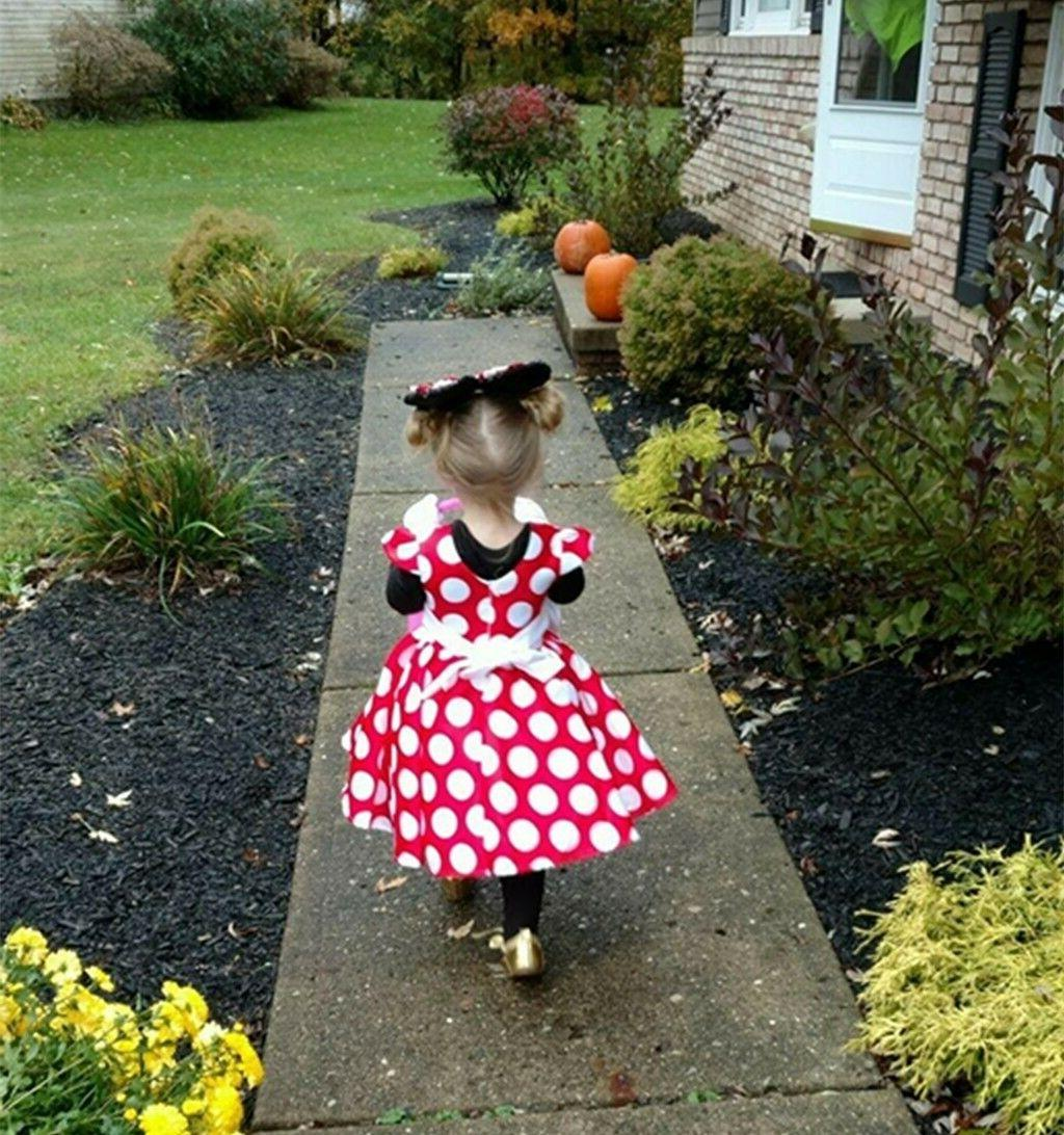 DH Girls Sleeves Skirt Polka Dot Dress With 2-10Y