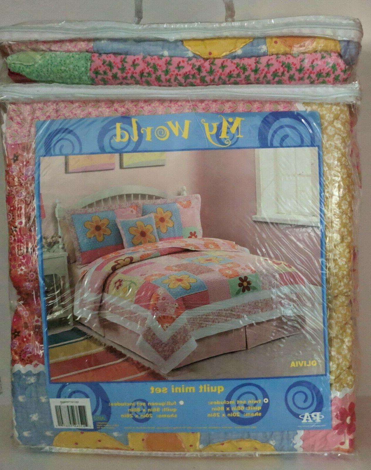 Girls Twin Bed Quilt Set Kids Cotton Floral Reversible Patch