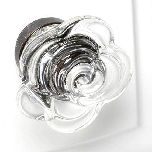 Glass Pulls for Girls Cute Cupboard Pack T129VF Clear Rose Knob with Bronze Base. &