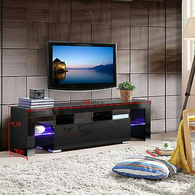 High Gloss Stand Unit Cabinet w/LED Shelves 2 Console Furniture