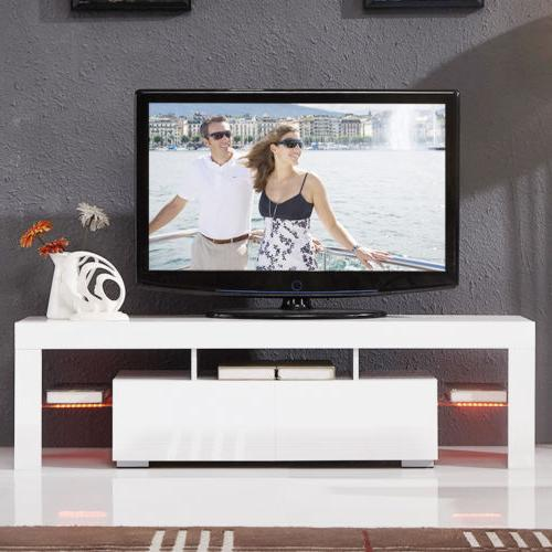 Modern White 63'' TV LED 2 Console Table RC