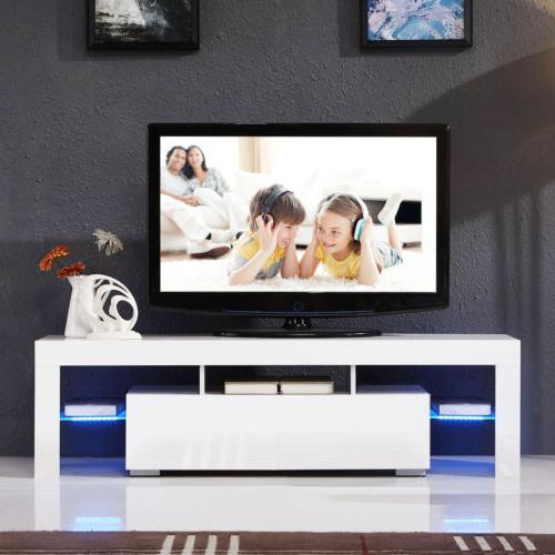 Modern 63'' TV Stand LED 2 Console Table