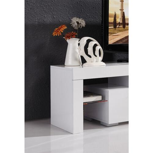 Modern 63'' Stand Unit LED Light Drawers Console Table