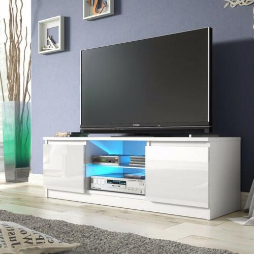 High Gloss LED TV Stand Unit Cabinet 2 Drawers Console for M