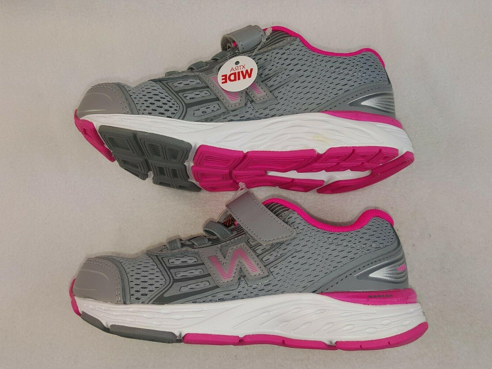 New Balance Little Kids Sneakers,Gray/Pink 12.5 Extra