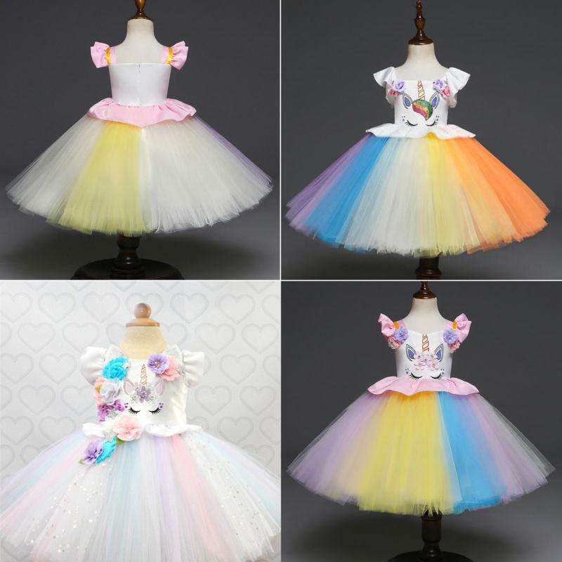 Kids Flower Girls Party Unicorn Tutu Dress Rainbow Wedding B