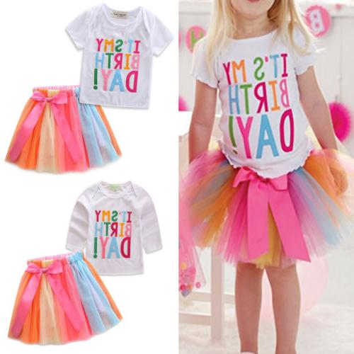 Kids Girls Birthday Party Skirt Outfit Princess Weddding
