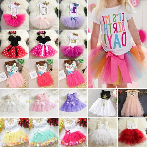 Kids Girls Baby Birthday Party Princess Weddding Party Summer Dress