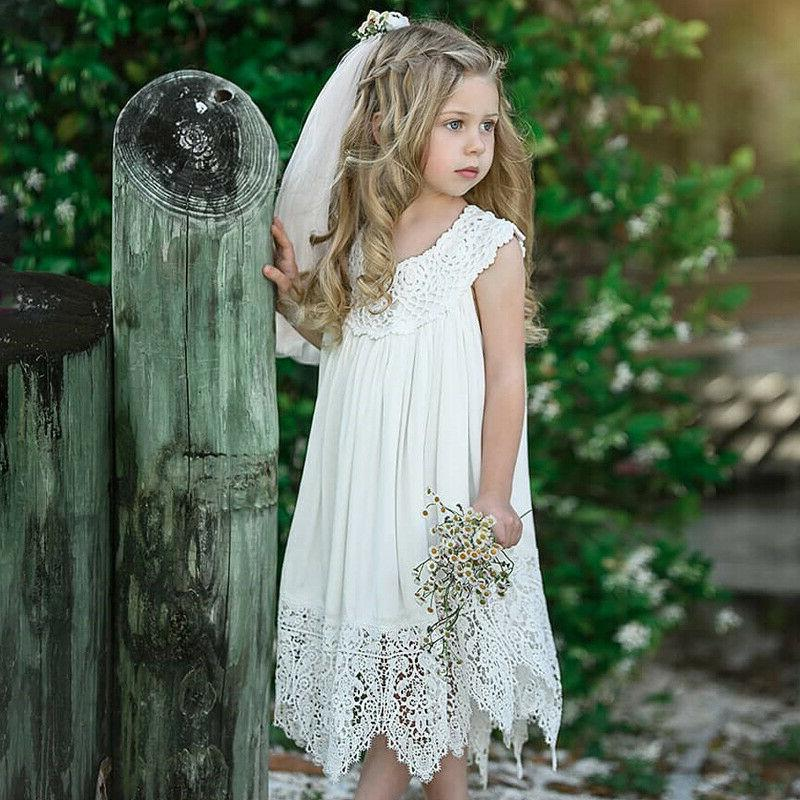 Kids Girls Baby Lace Wedding Party Pageant
