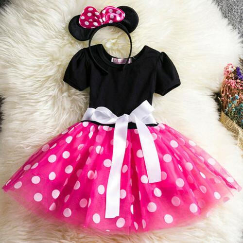 Kids Baby Minnie Mouse Party Tutu Dress Skirt Headband