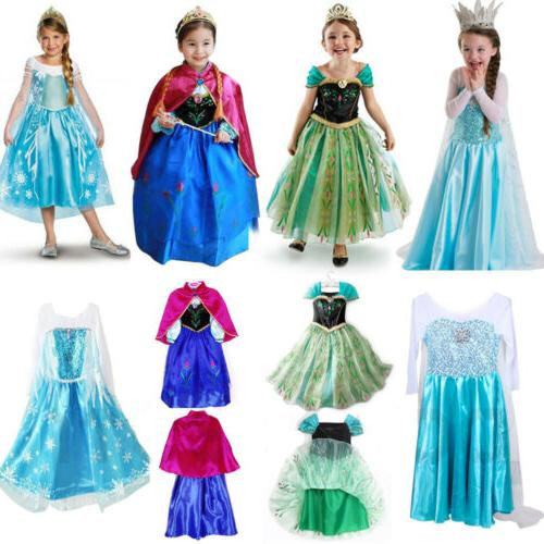 kids girls elsa frozen dress cosplay costume