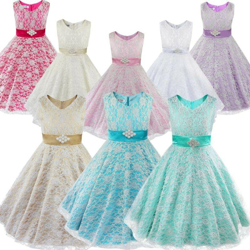 Kids Girls Pageant Party Communion Ball Prom Gowns Flower Dress