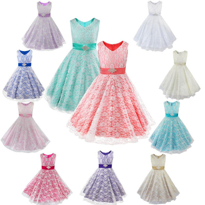 Kids Pageant Party Communion Ball Prom Flower Girl Dress
