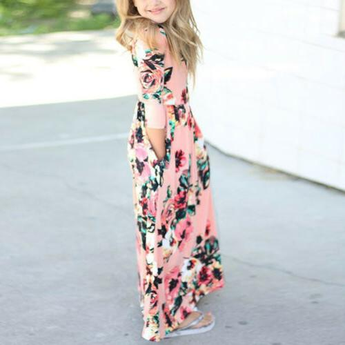 Kids Girls Long Sleeve Boho Floral Dress