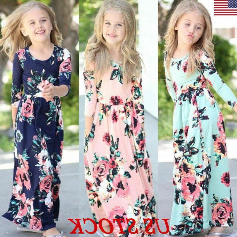 kids girls long sleeve boho floral maxi