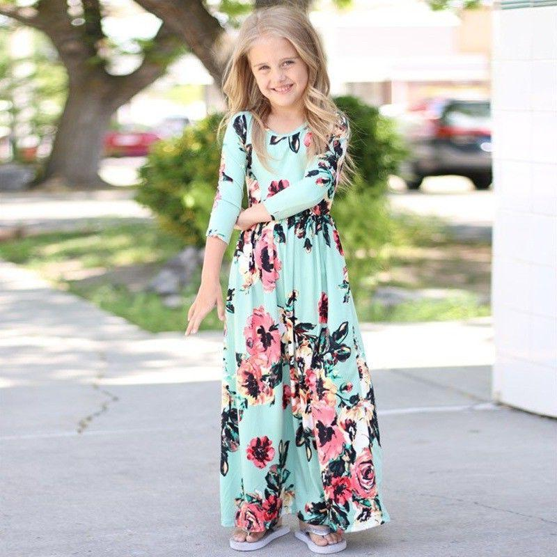 Kids Girls Long Floral Maxi Party Weddding