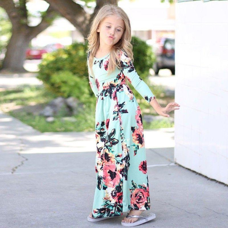 Kids Long Floral Party Weddding