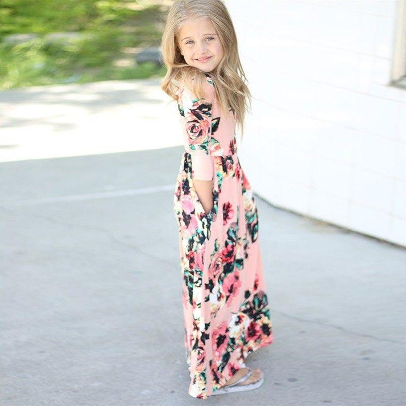 Kids Girls Long Floral Dress Holiday Party Weddding