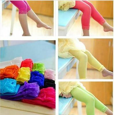 KIDS GIRLS MICROFIBER STRETCH TIGHT LEGGINGS LACE CAPRI PANT