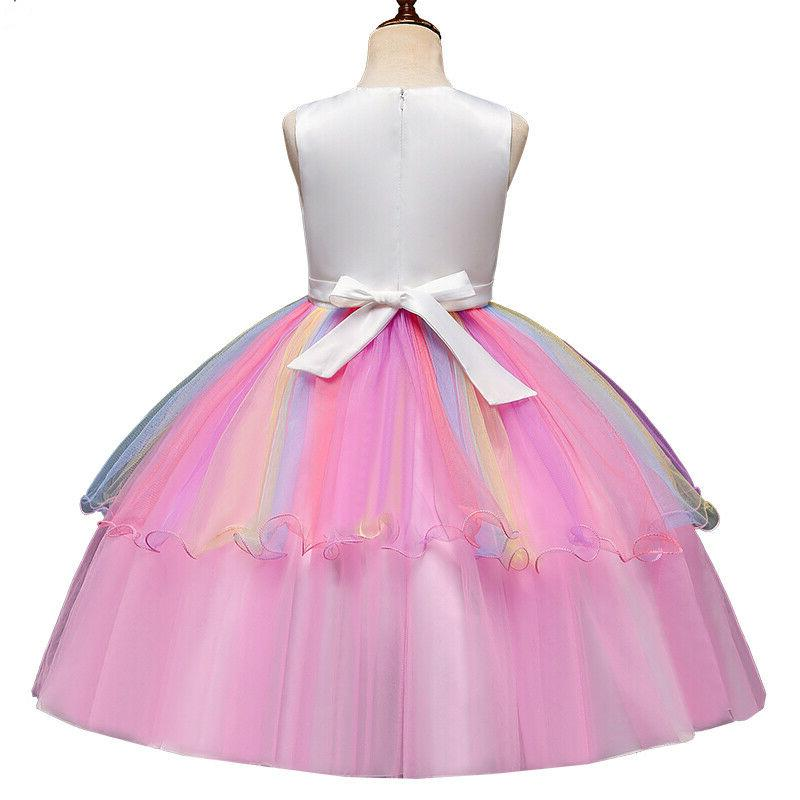 Kids Girls Unicorn Princess Party Prom Dress Tutu