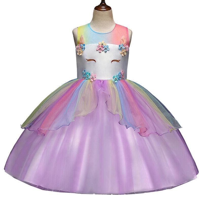 Kids Girls Rainbow Unicorn Princess Dress