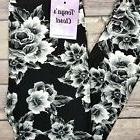 Kids Girls Toddler Leggings Black and White Floral Print But