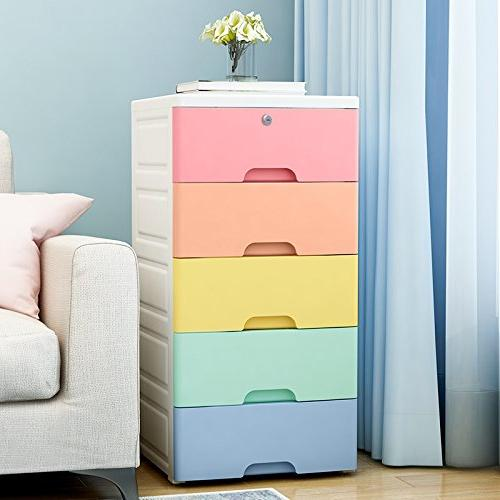 Nafenai Kids' Storage Cabinet,Exquisite Furniture Colorful Drawer Lock, Great Girls'room and