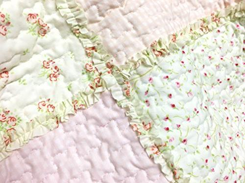 Cozy Line Sweet Peach Floral Pink/Yellow/Green/Rose Patchwork 100% Bedding Reversible Bedspread,Gifts for Women
