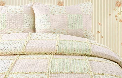 Cozy Sweet Peach Light Pink/Yellow/Green/Rose Printed 3D Real Patchwork Bedding Coverlet Bedspread,Gifts Her Women