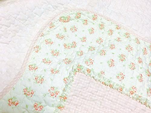 Cozy Home Sweet Peach Floral Light Pink/Yellow/Green/Rose Printed 3D Real Patchwork 100% Bedding Bedspread,Gifts for Girl Women