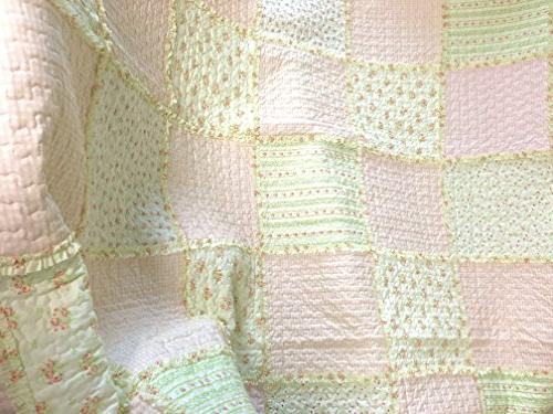Cozy Line Fashions Sweet Peach Floral Patchwork 100% Bedding Bedspread,Gifts for Her Women