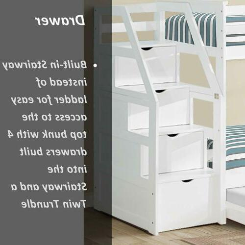 Loft Bed Ladder with 4 Drawers Dorm For Boys Teens Kids