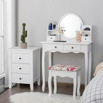 Makeup Vanity W/Drawers Oval Mirror Girls Dressing Table Gift