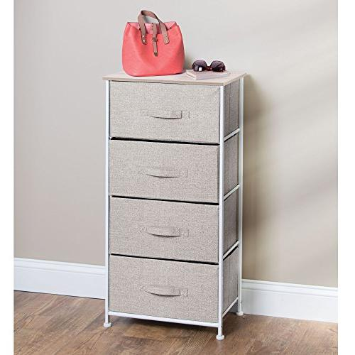 mDesign Tower - Frame, Wood Organizer Hallway, Textured Drawers -