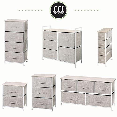 mDesign Dresser Tower Sturdy Steel Frame, Pull - Organizer Hallway, Entryway, - Textured 4 Drawers - Linen/Natural