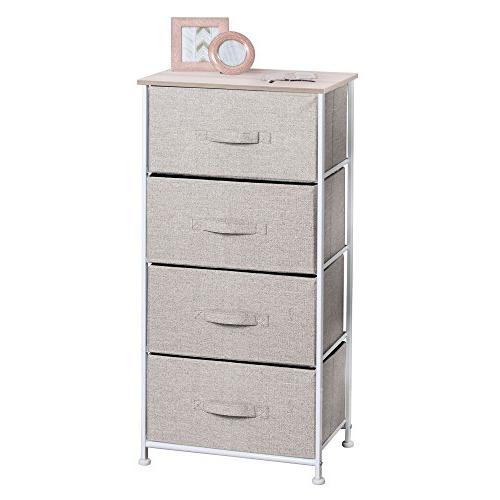 mDesign Vertical Dresser Tower - Sturdy Steel Frame, Wood Pull Fabric Bins Organizer Hallway, Entryway, Textured 4 Drawers