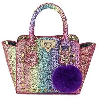 my first shinny glitter rainbow purse