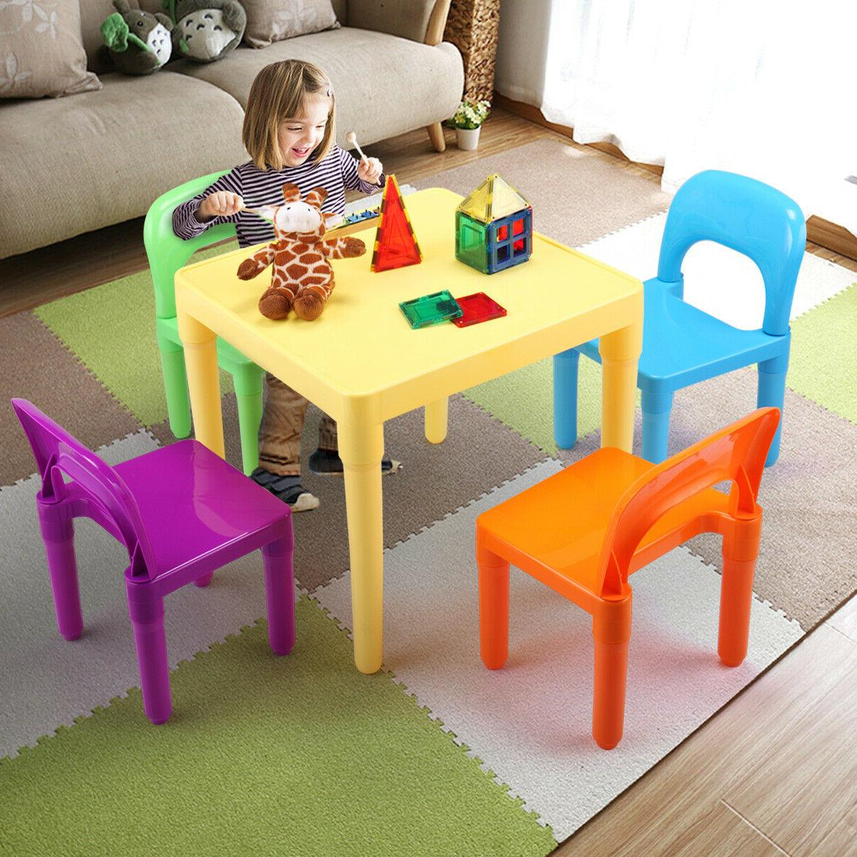 Kids Table and 4 Chairs Toddler Child Party Toys Fun Activit