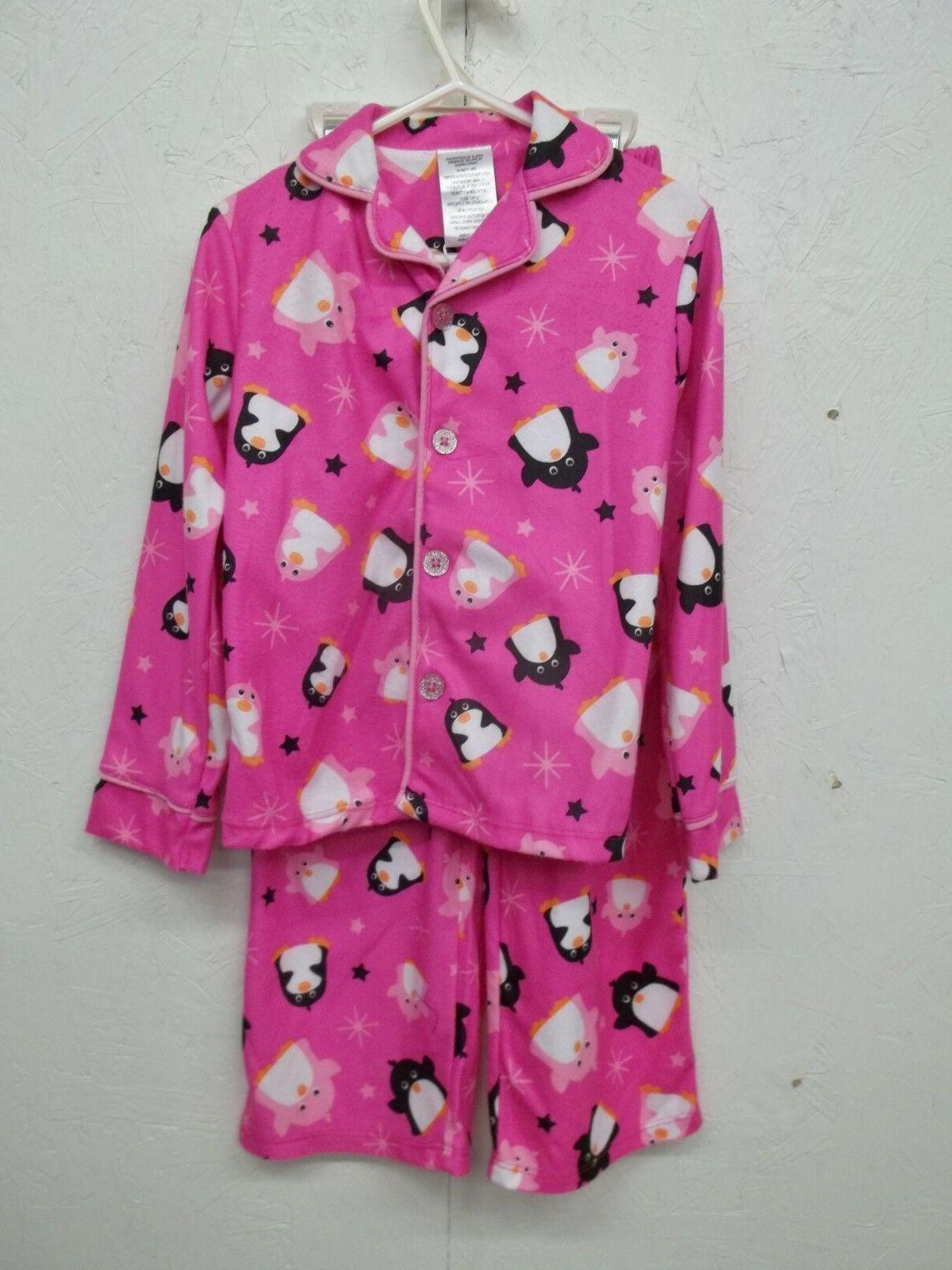 NWT Komar Kids Girls Pink Penguin Flannel Pajama Set-4/5