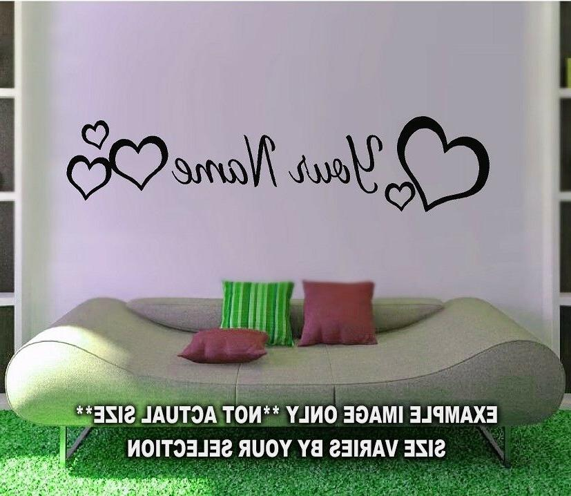 PERSONALIZED NAME HEARTS GIRLS ROOM WALL ART KIDS CHILDREN N