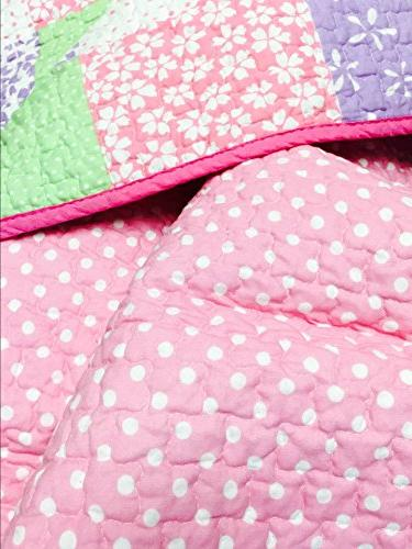 Cozy Cute Green Birds Pattern Bedding Set, Reversible Coverlet, Bedspreads, 100 COTTON, Gifts Girls