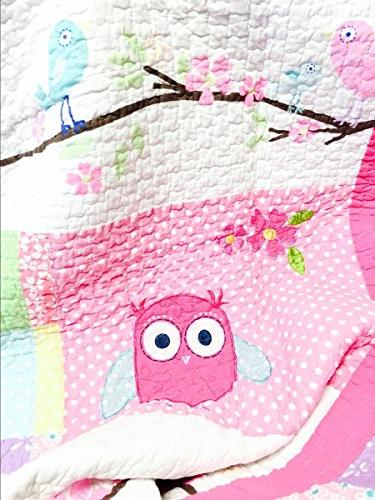 Cozy Fashions 7-Piece Bedding Pink Owl Blue Green White Print 100% Bedspread Set, for