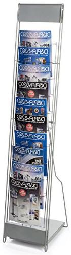Displays2go Portable Literature Stand with 10 Pockets, Steel