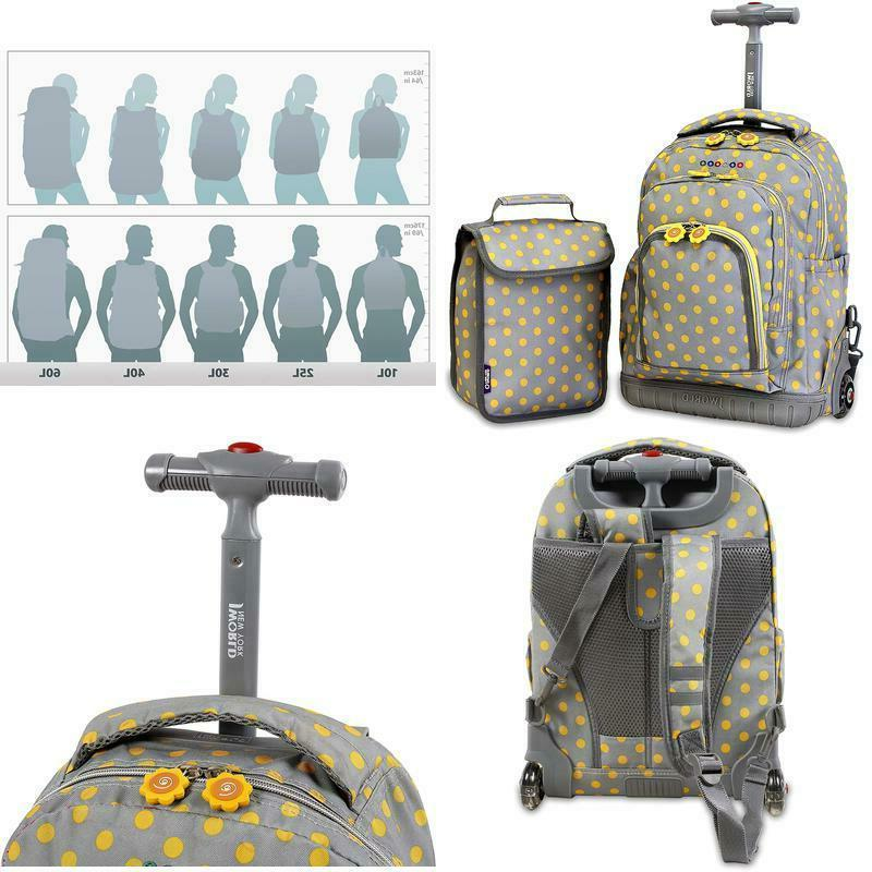 Premium Kids Rolling Backpack Wheels And Lunch Bag For Boys Girls